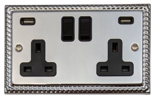 G&H MC910B Monarch Roped Polished Chrome 2 Gang Double 13A Switched Plug Socket 2.1A USB